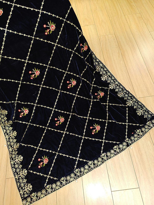 Black and gold and silver velvet shawl