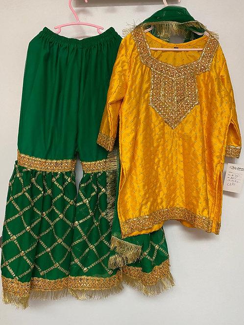 Yellow Shirt& Green Gharara