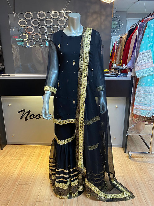 Black and Gold Gharara Outfit