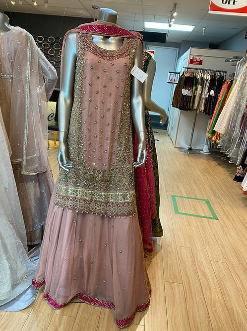 Tea Pink with Hot Pink Sharara Style