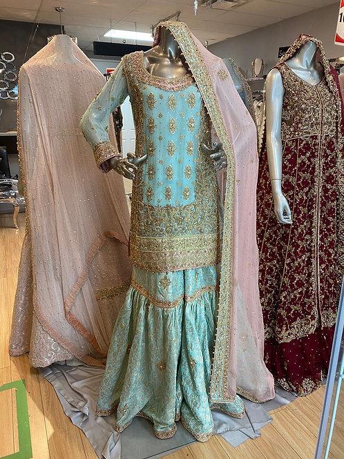 Ice Blue with Rose Pink Gharara Semi Bridal