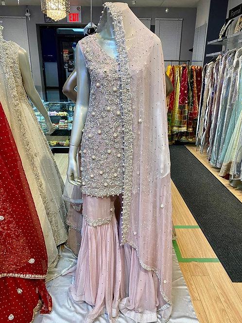 Soft Lilac & Silver Gharara Semi Bridal