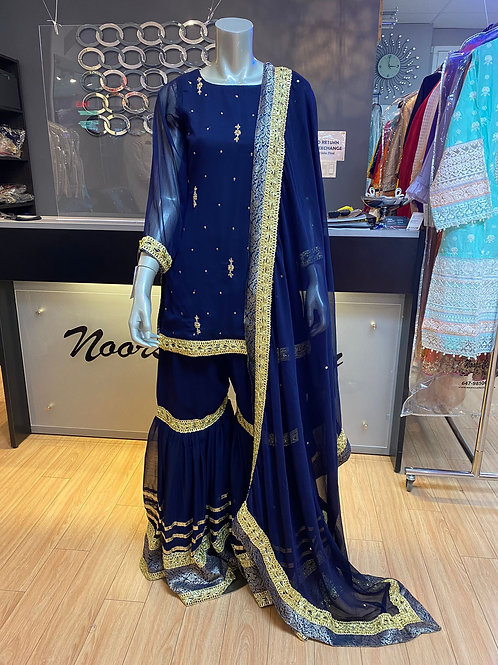 Navy Blue with Gold Gharara Outfit