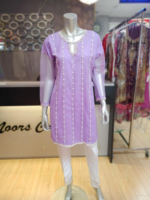 Net Lilac Pearl Embroidery Kurtee Only
