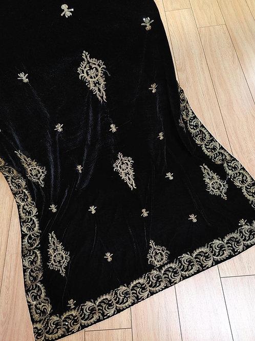Black and silver velvet shawl