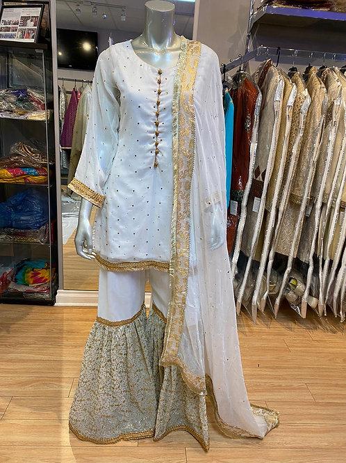 White & Gold gharara outfit