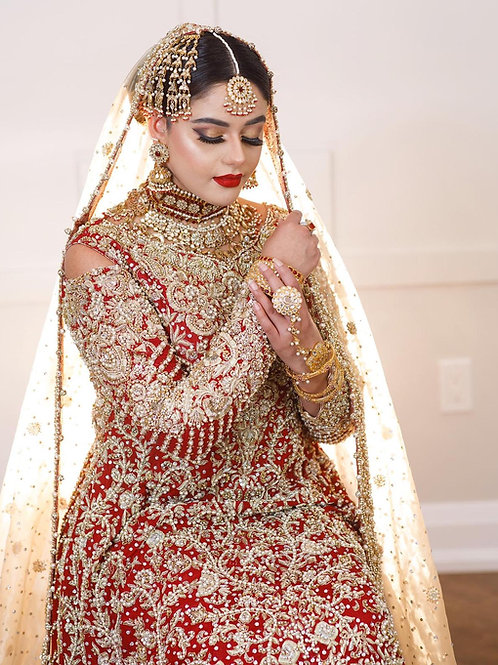 Red with Golden Dupatta Bridal Ensemble