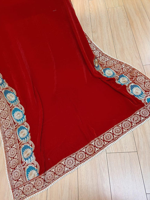Red with silve and blue velvet shawl
