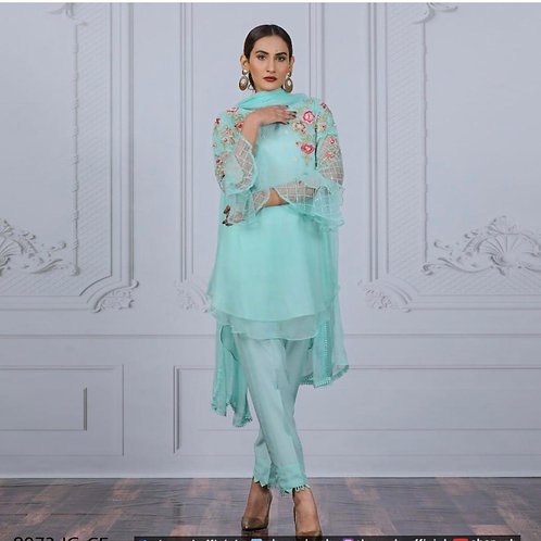 Chiffon fabric with thread work and bell sleeves