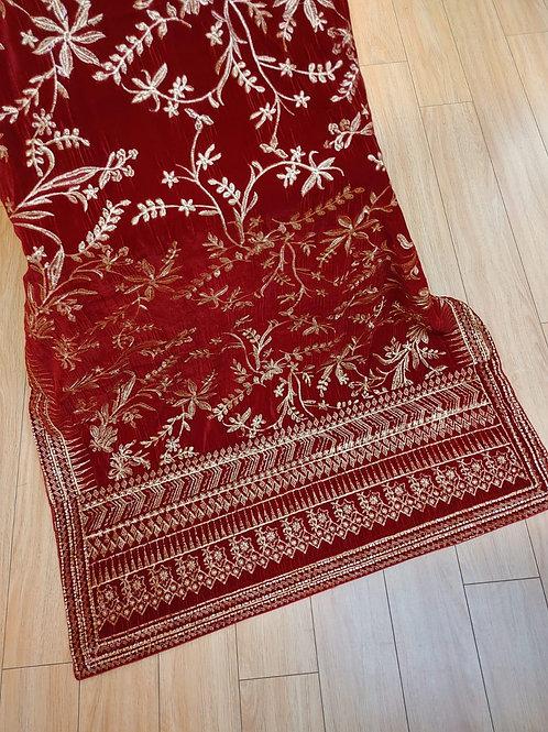 Red velvet shawl