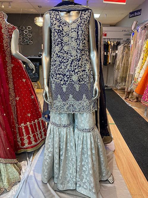 Royal Blue with Silver Gharara