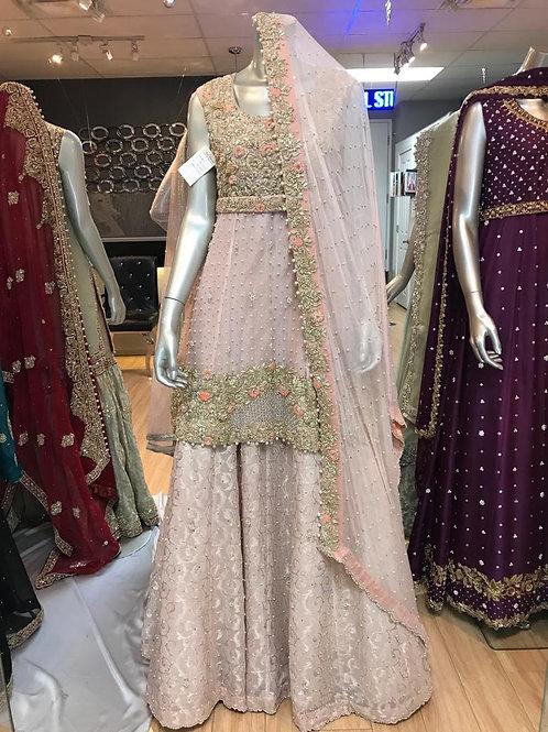 High Low Soft Pink Peplum Style Semi Bridal