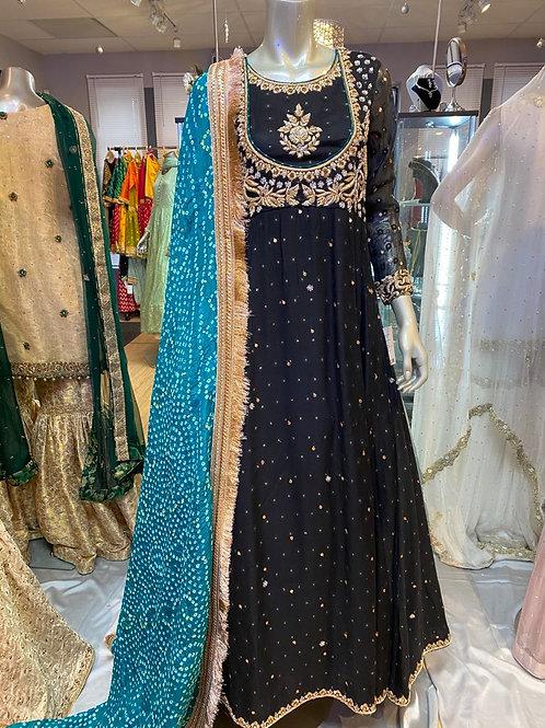 Black & Gold with Pure Chunree Dupatta