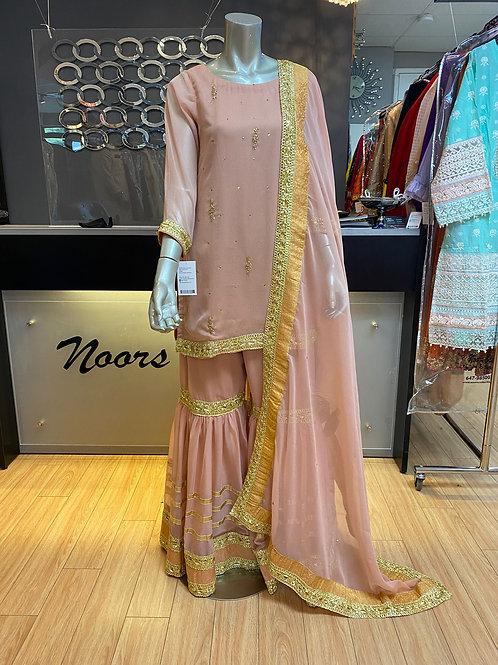 Lilac Chiffon Gharara Outfit