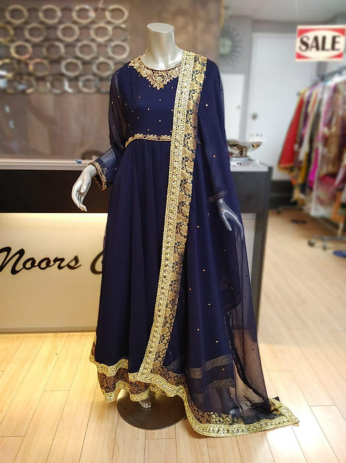 Royal Blue Hand Embroidery Maxi