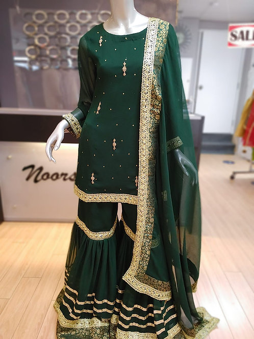 Bottle Green Gharara Outfit