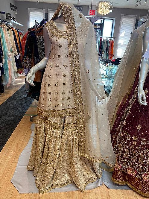 Semi Bridal Ivory Gold Gharara Outfit
