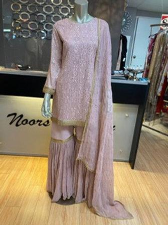 Lilac Pink Chicken Kari Gharara Outfit