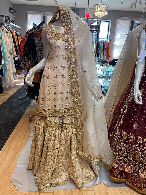 Ivory Gold Semi Bridal Outfit
