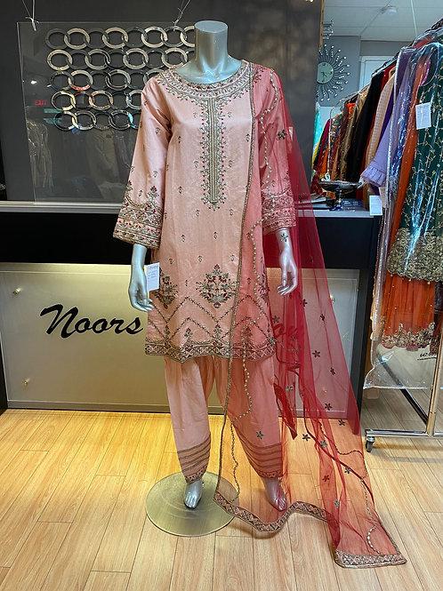 Light Pink Cotton Net with Fushia Pink Dupatta
