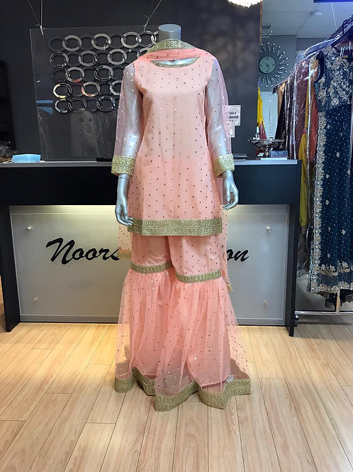 Peach Polka Dot Net Gharara