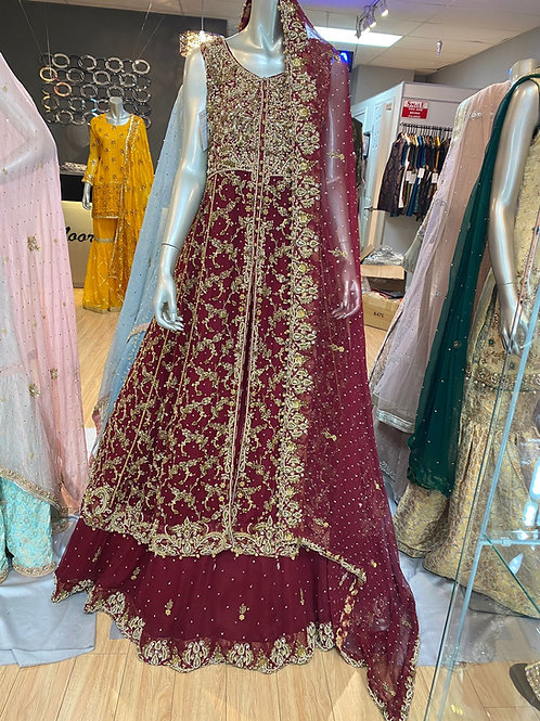 Red and Gold Front Open Gown Semi Bridal
