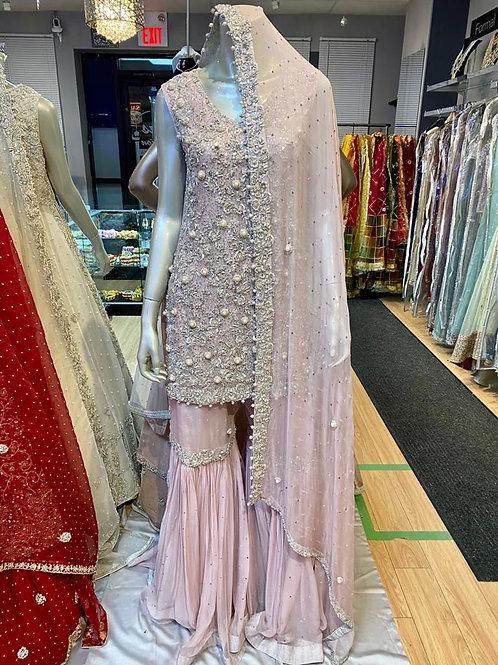 Lilac Pearl Gharara Semi Bridal