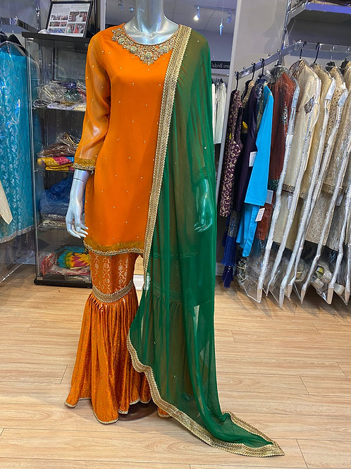Orange with Contrast Green Gharara Outfit