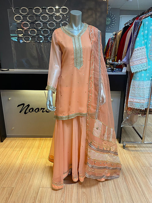 Soft Peach Plazzo Pants Outfit