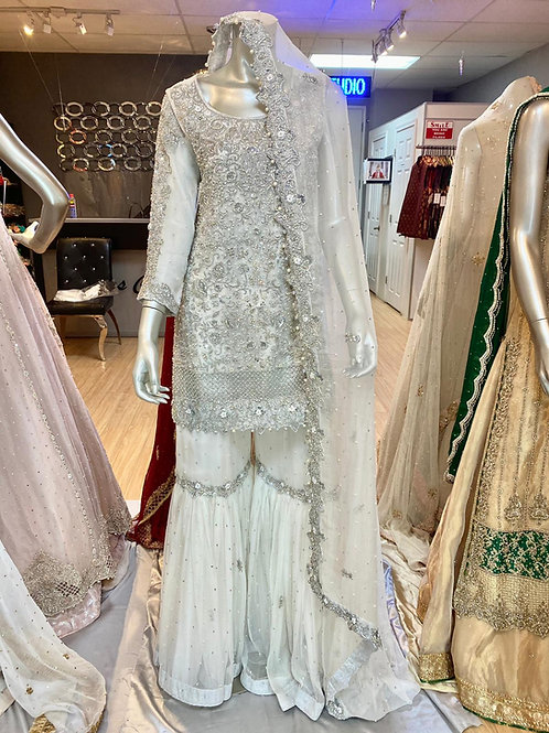 White and Silver Gharara Outfit