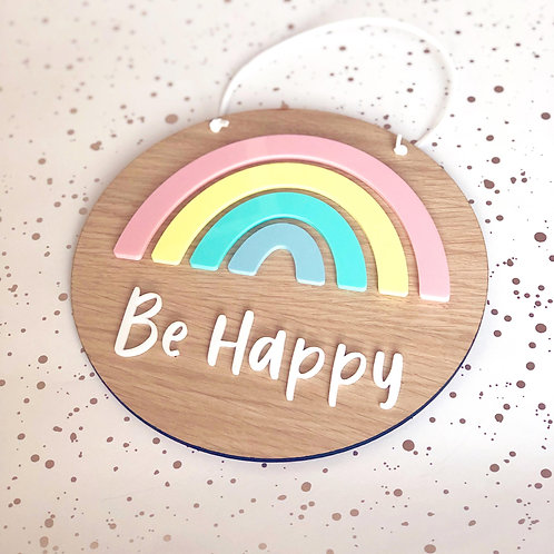 Rainbow 'Be Happy' Wall Hanging