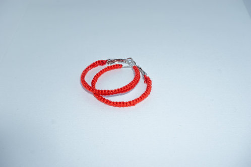 Hand Stitched Small Red Hoop Earrings