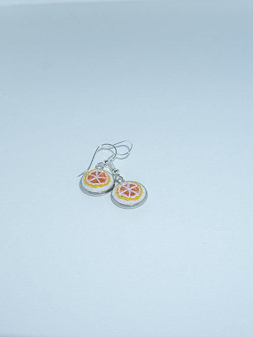 Hand-Stitched Orange Slice Earrings