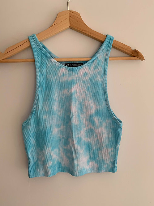 Cropped Blue Tie Dye Top