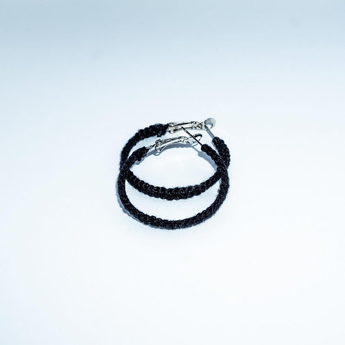 Hand Stitched Small Black Hoop Earrings