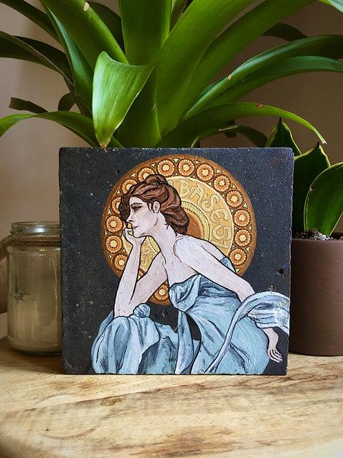 Art Nouveau Style Beautiful Lady Victorian Quarry Tile