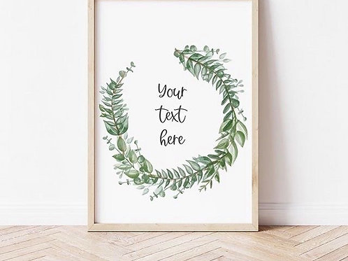 COMISSION A4 Personalised Watercolour Wreath Print