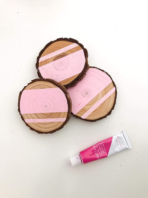 Pink Hand-Painted and Varnished Coaster Set of 3