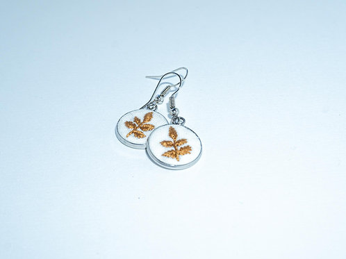 Hand-Stitched Autumn Leaves Earrings