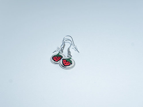 Hand-Stitched Strawberry Earrings