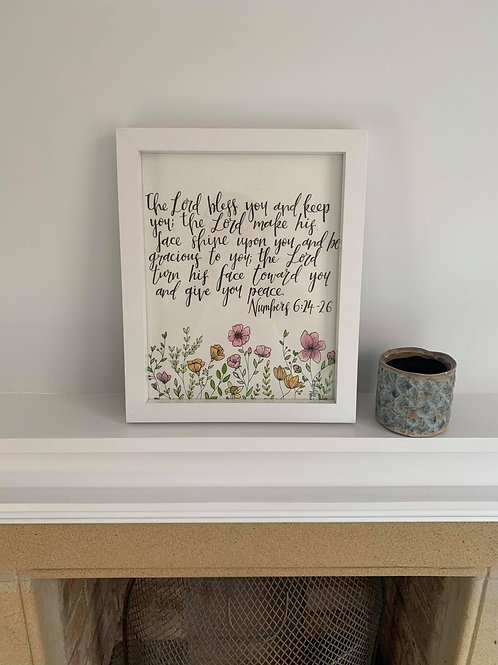 A4 Framed Bible Verse Calligraphy