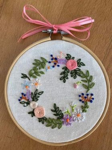 Hand-Embroidered Floral Hoop