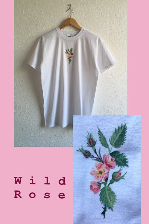 Hand painted Wild Rose T-shirt