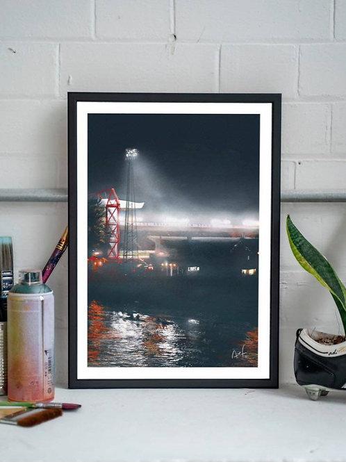 City Ground by Night A3 Framed Print