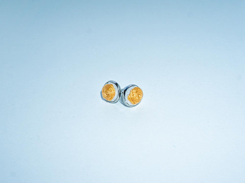 Hand-Stitched Small Orange Rose Earrings