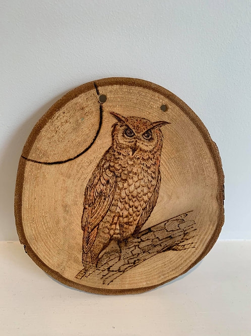 Owl Wooden Pyrograph