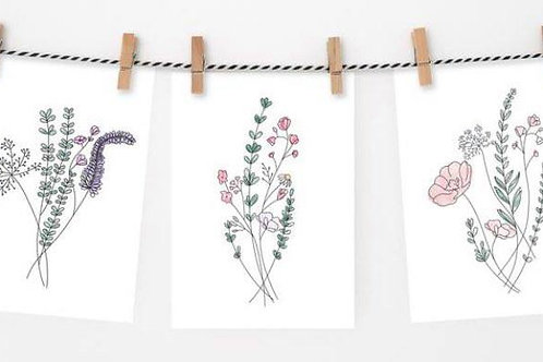 A6 Flower Watercolour Notecard Set of 3