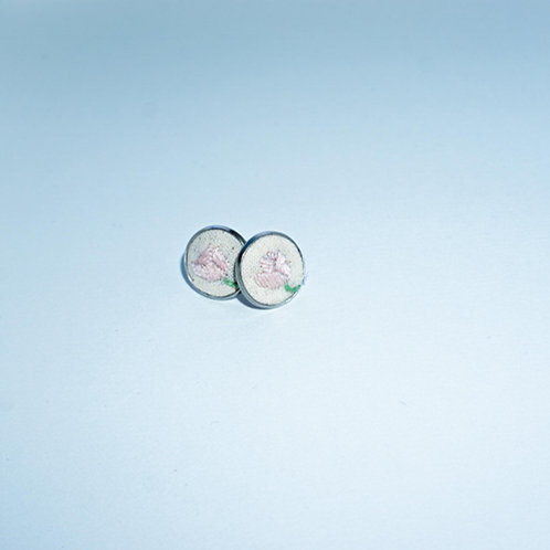 Hand-Stitched Pink Flower Earrings