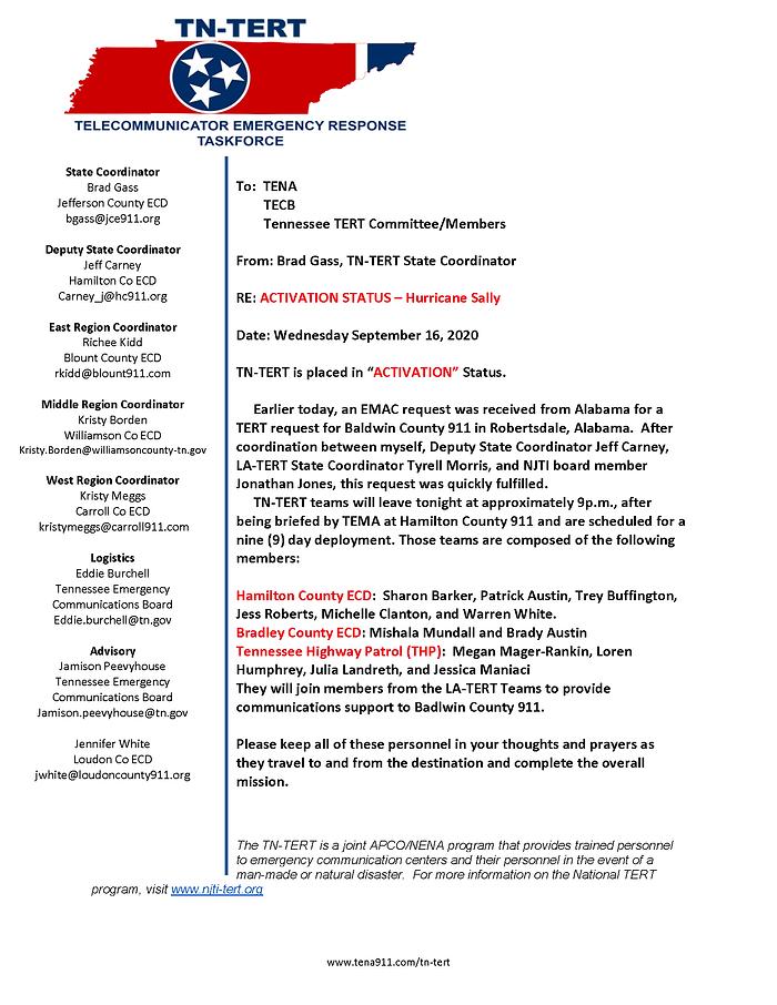 20200916 Hurricane Sally Activation Aler
