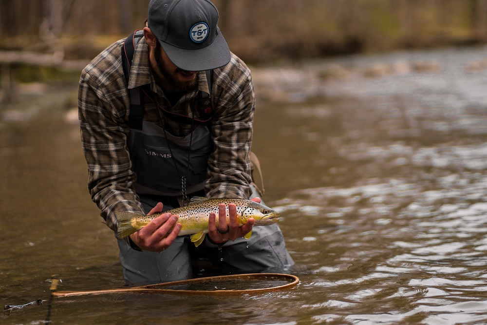Central New York fly fishing guide, Brian Lansing, with a wild brown trout